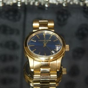 Michael Kors Blue Face On Gold Watch Like New